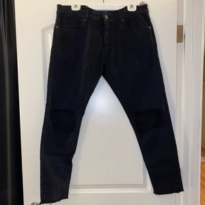 ZARA Men's Distressed Black Jeans